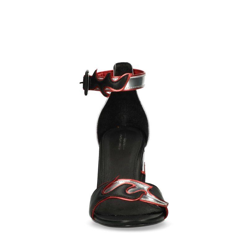 Zwarte sandalen met hak met vlammen