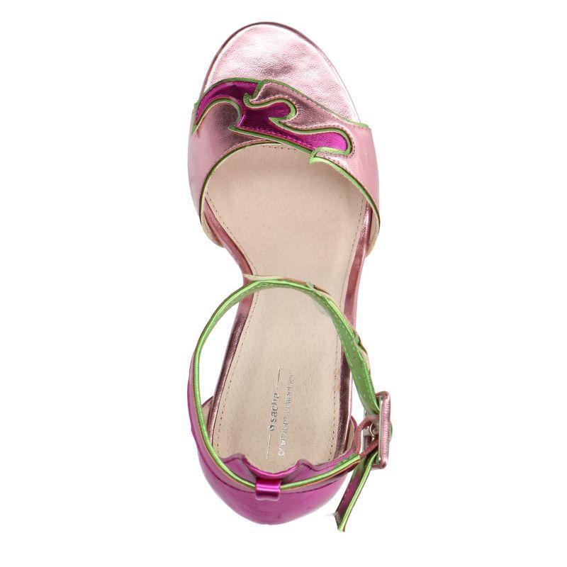 Roze sandalen met hak met vlammen