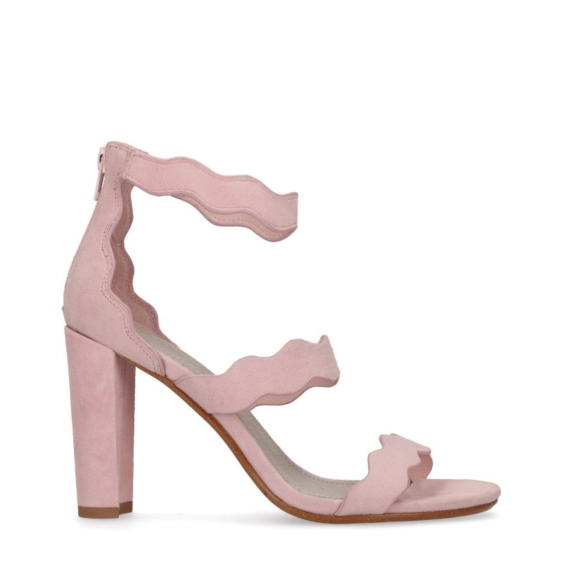 Lichtroze sandalen met blokhak