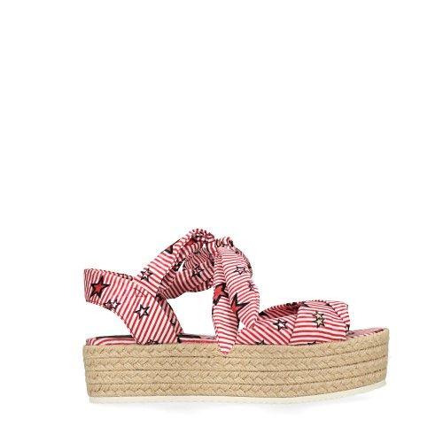 Plateau sandalen met strepen