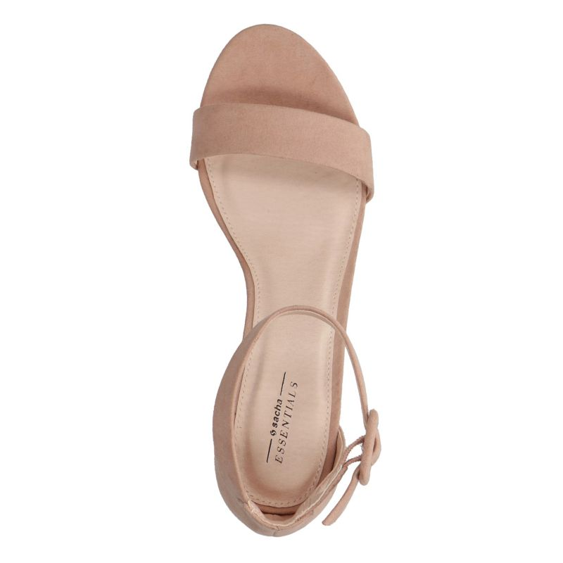 Nudefarbene Sandalen mit Midi-Absatz