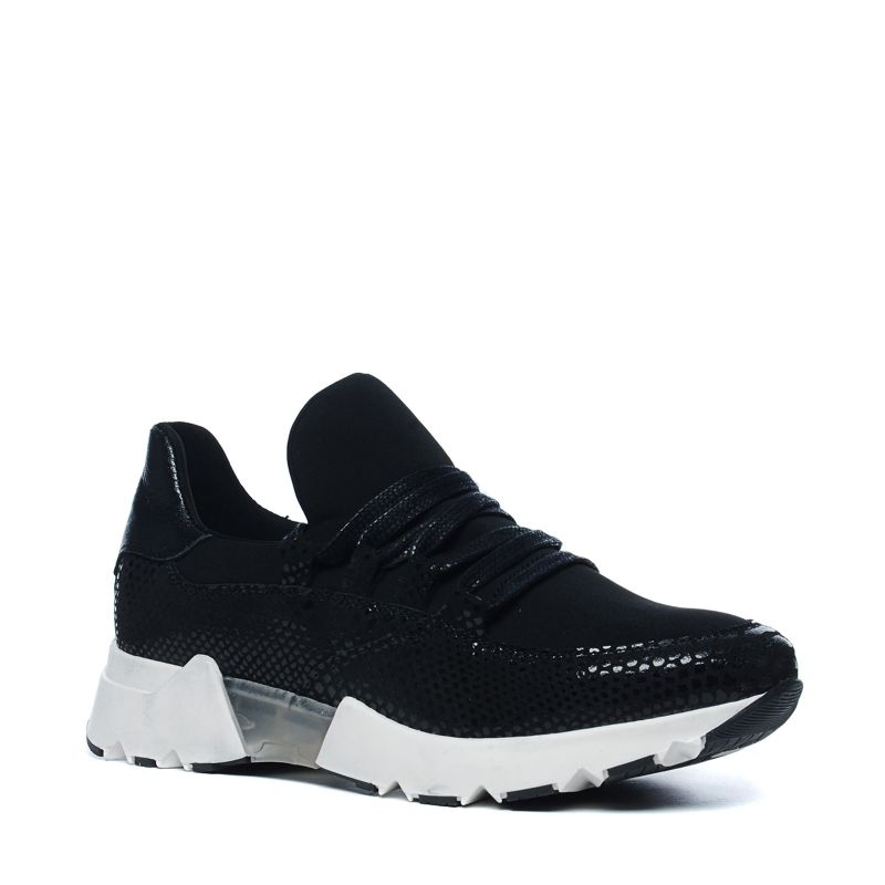 Zwarte lage sneakers met glimmende snakeskin