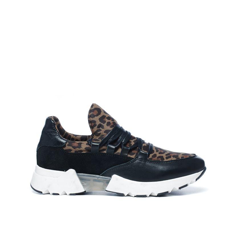 Panterprint lage sneakers