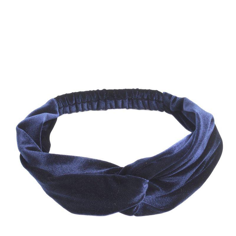 Donkerblauwe velvet haarband
