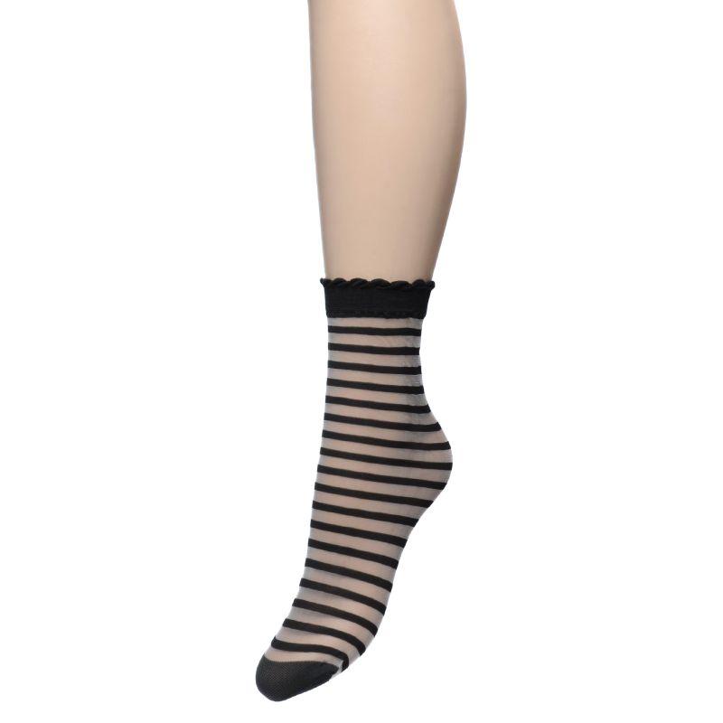 Zwarte transparante gestreepte sokken