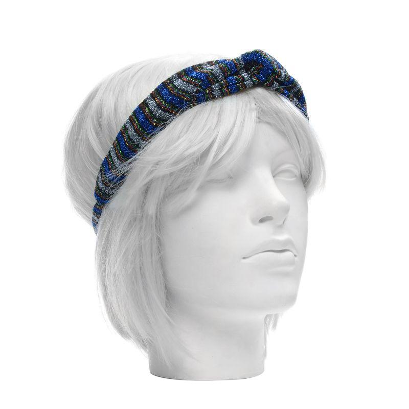 Blauwe glitter haarband met knoop