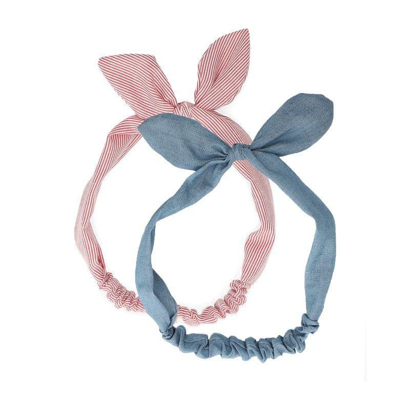 Set van 2 haarbandjes met strik blauw/rood