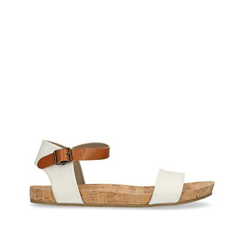 Witte sandalen met cognac bandje