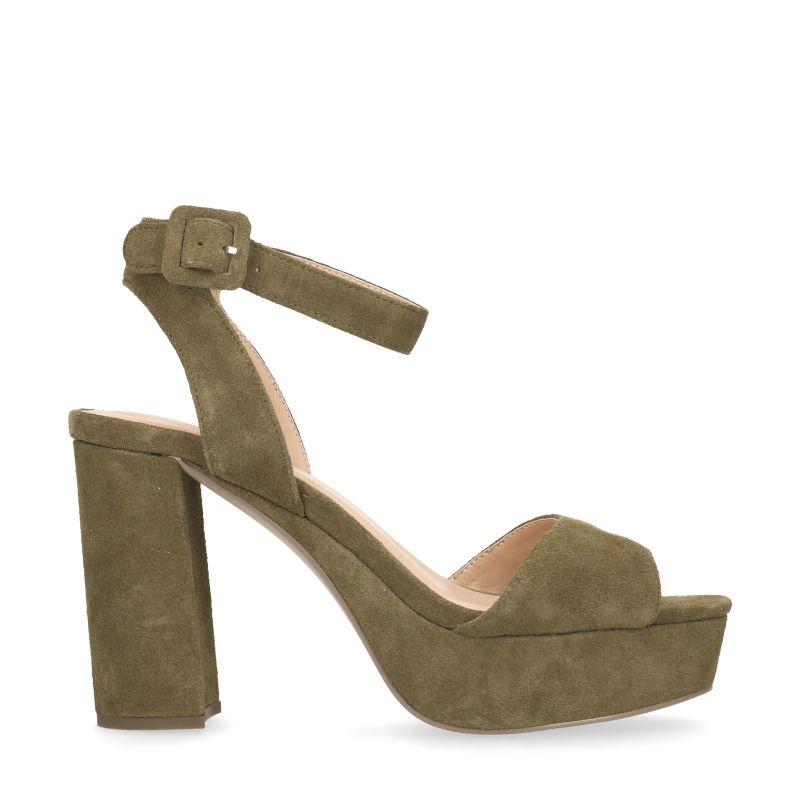 Sandales à talon en daim - vert foncé (37,38,39,40)