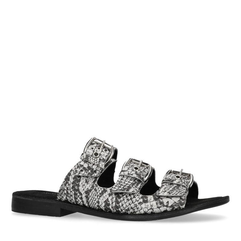 Grijze snakeskin slippers met 3 gespen