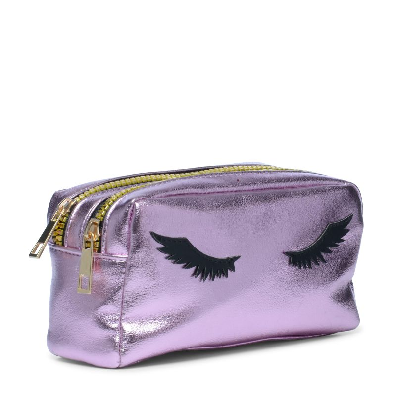 Kulturtasche mit Wimpern in Metallic-Rosa