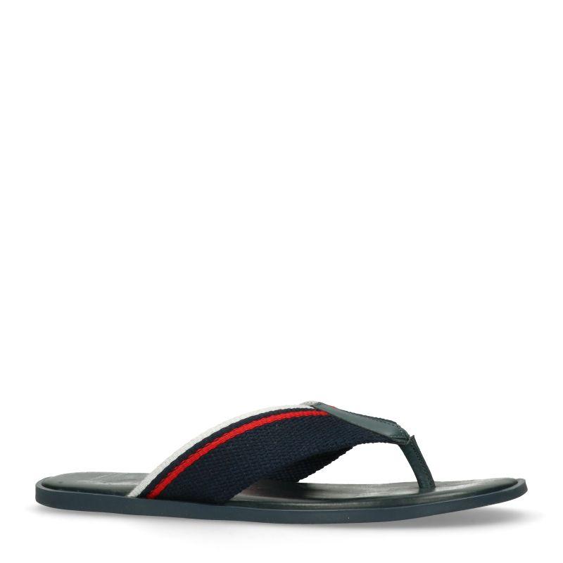 Donkerblauwe leren slippers