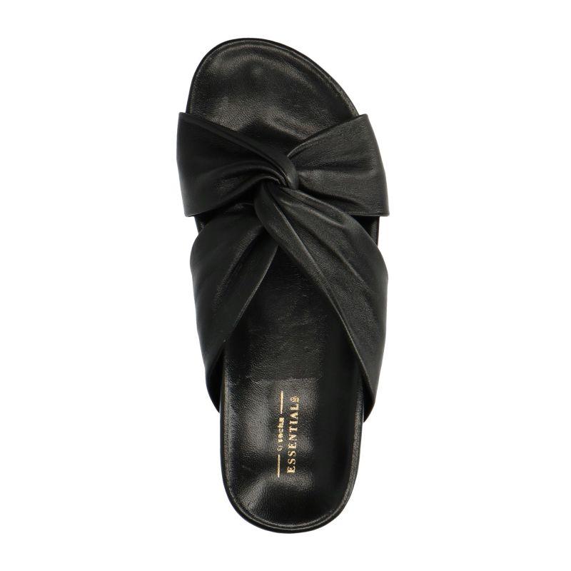 Zwart leren slippers