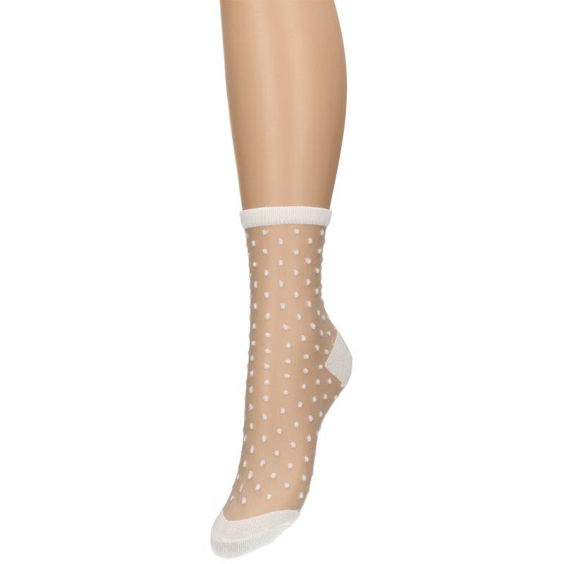 Witte transparant gestipte sokken