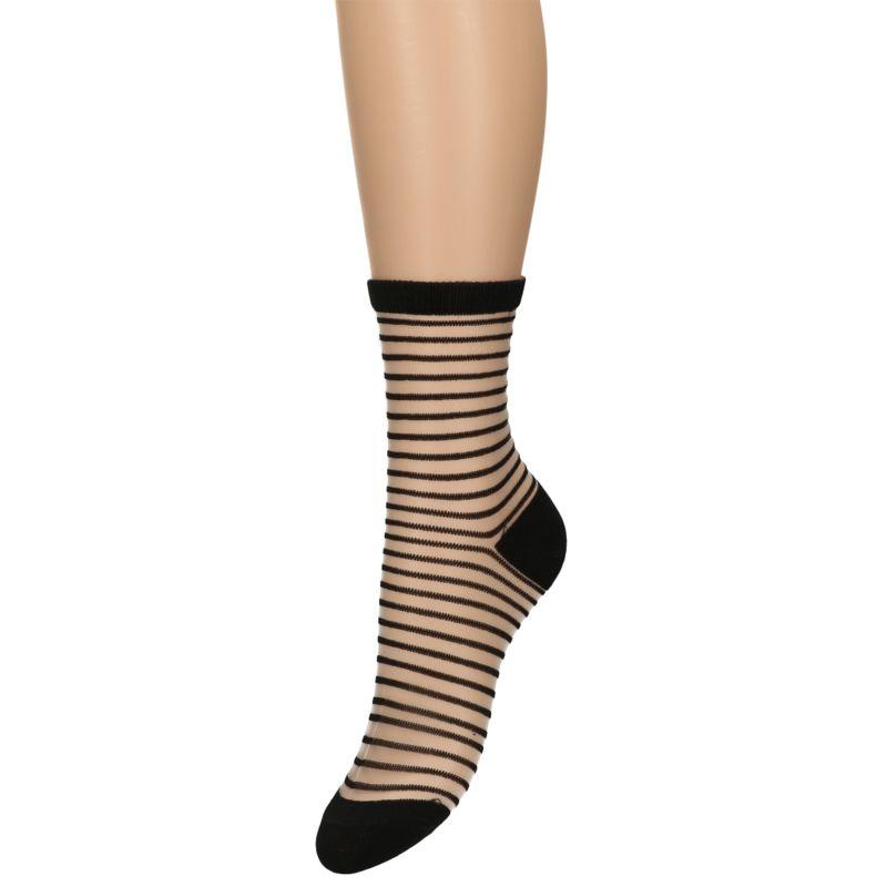 Zwarte transparant gestreepte sokken