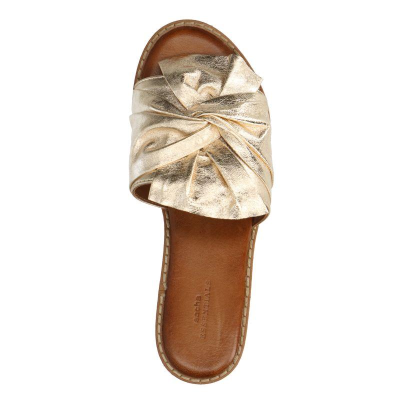 Platform slippers metallic