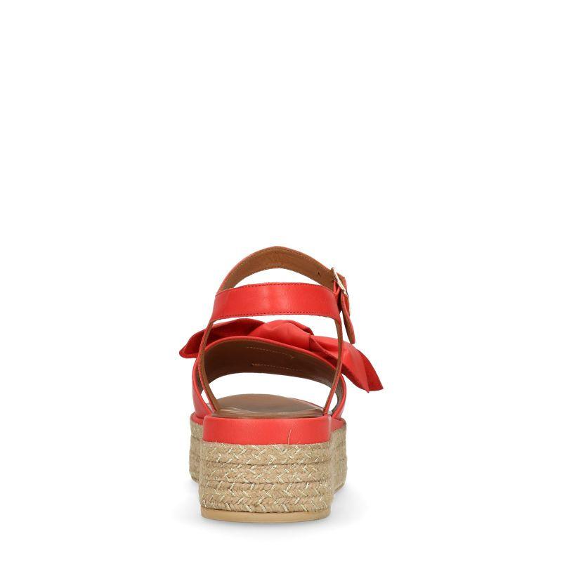 Rode plateau sandalen met rieten zool