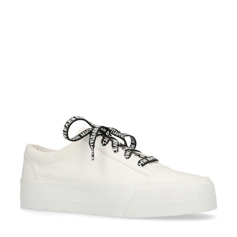 Witte platform sneakers met veters met tekst