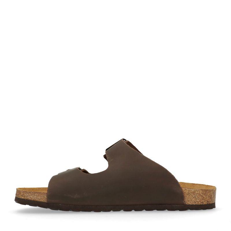 Donkerbruine leren slippers
