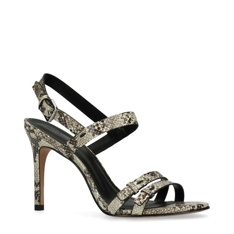 Beige snakeskin sandalen met hak