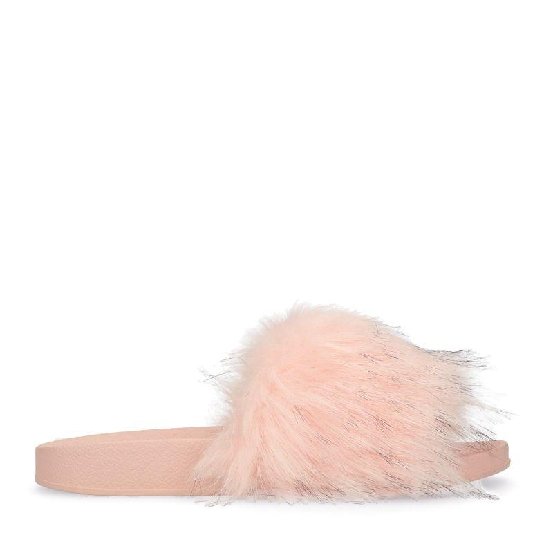 Fluffy roze slippers