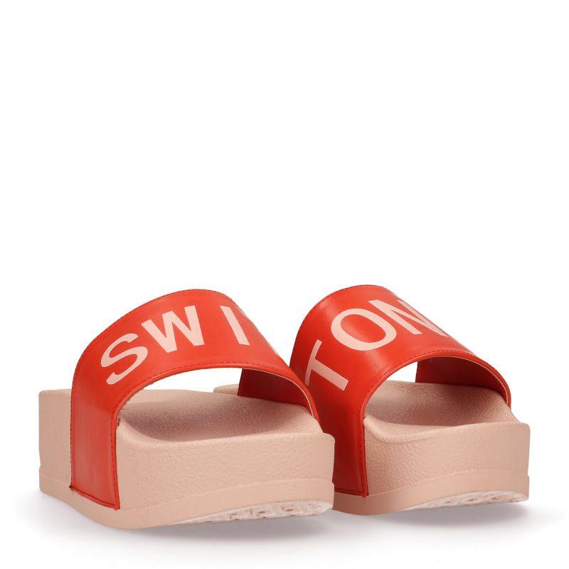 Rode platform slippers SWIM TONIC