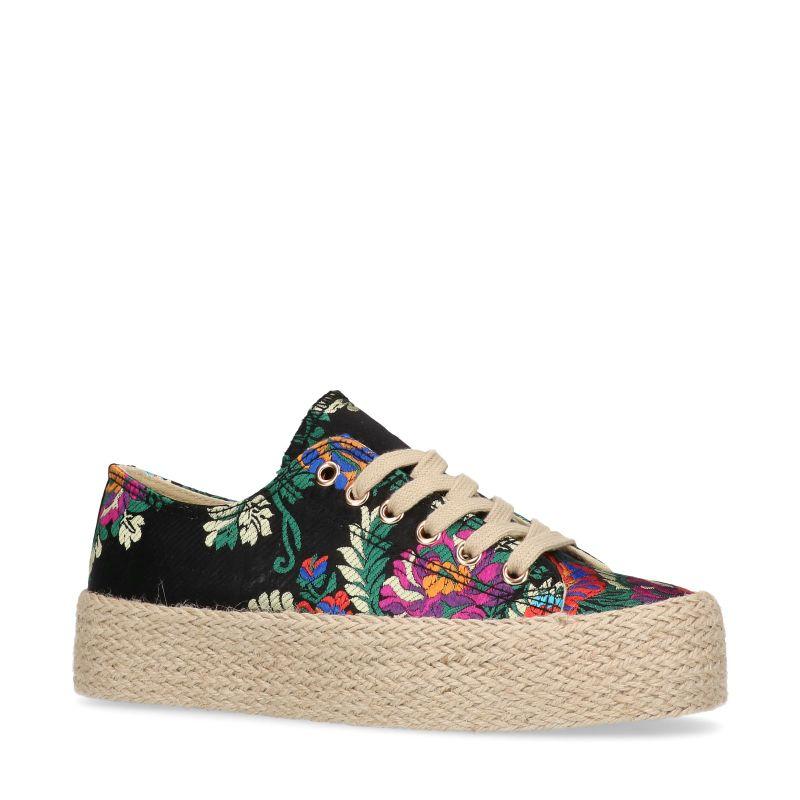 Zwarte lage sneakers met bloemenprint