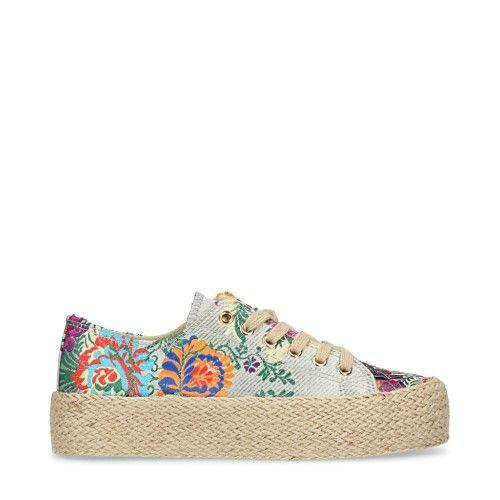 Touwzool lage sneakers met bloemenprint