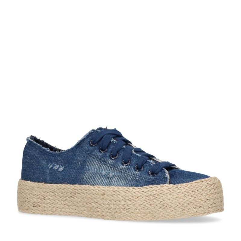 Denim platform sneakers met touwzool