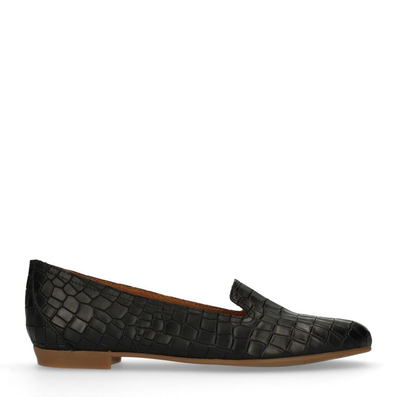 Zwarte loafers met snakeskin