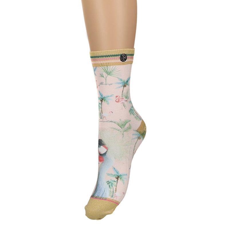 XPOOOS sokken met pauw en palmbomen