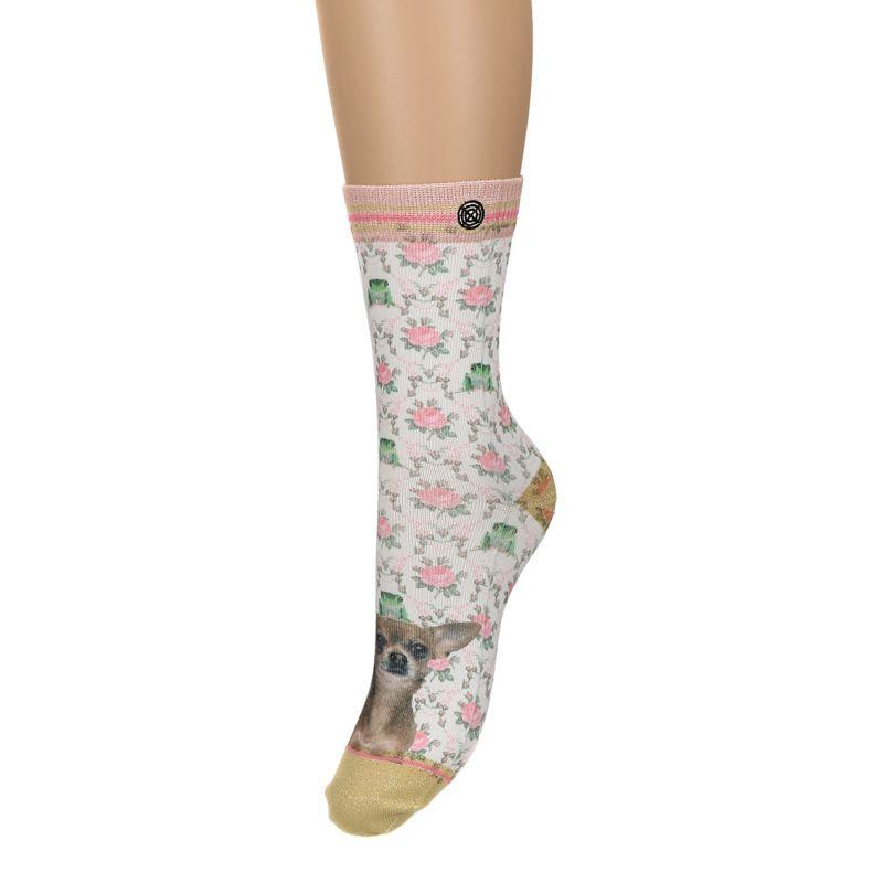 XPOOOS sokken met hond en bloemen