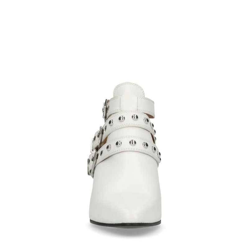 Witte buckle boots met cut out