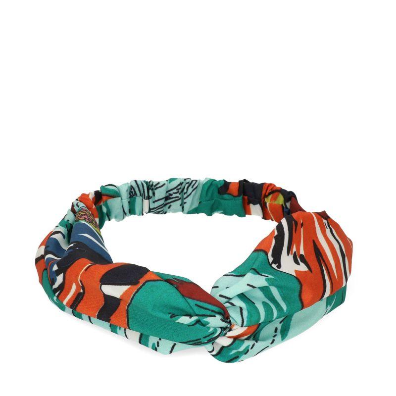 Groen met oranje haarband met print