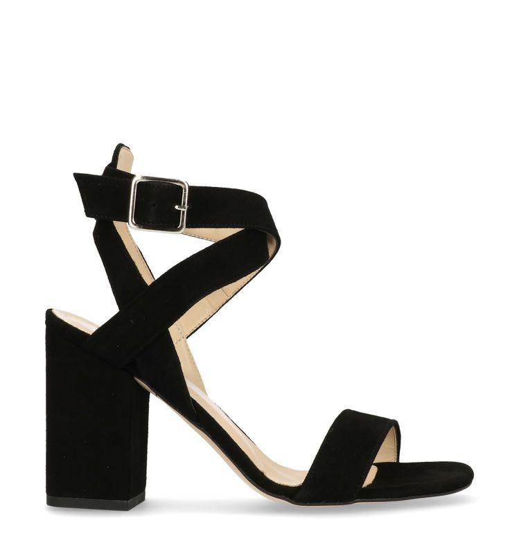 Sandalen met blokhak zwart suède