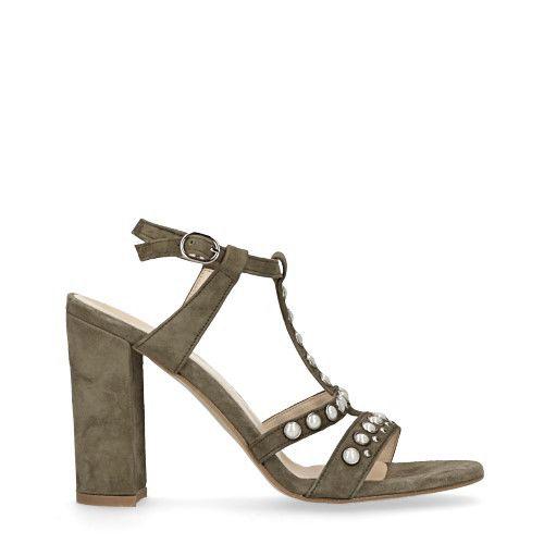 Donkergroene sandalen met hak met parels