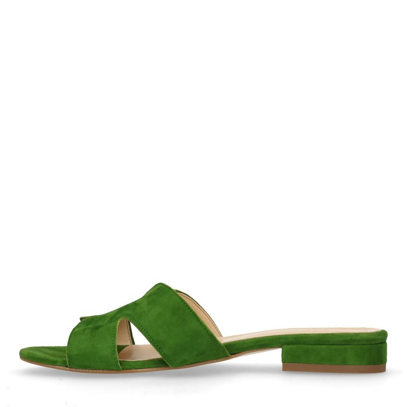 Groene suède slippers