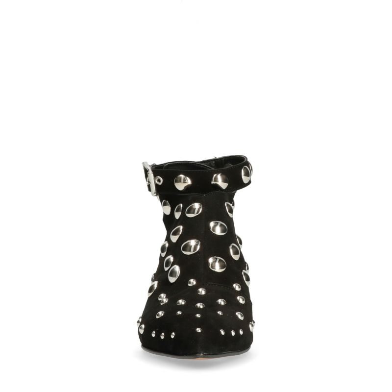 Schwarze Cut-out-Stiefeletten mit Nieten