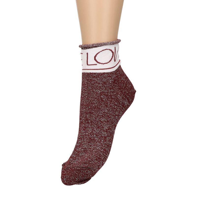 Bordeaux rode glitter sokken met tekst