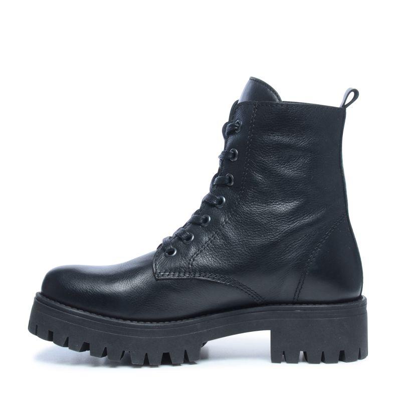 Zwarte biker boots met blokhak