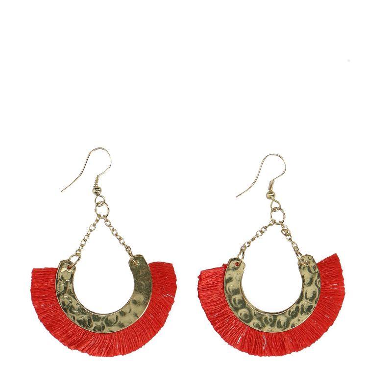 Boho tassel oorbellen rood