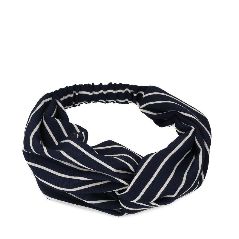 Blauwe haarband met witte strepen
