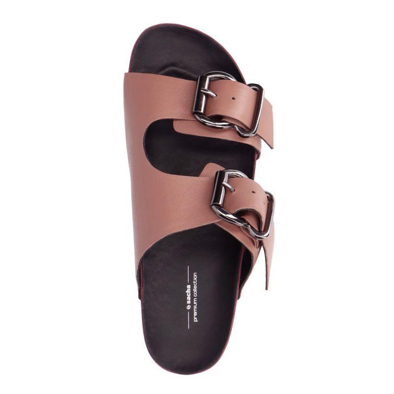Oud roze slippers met zilveren gespen