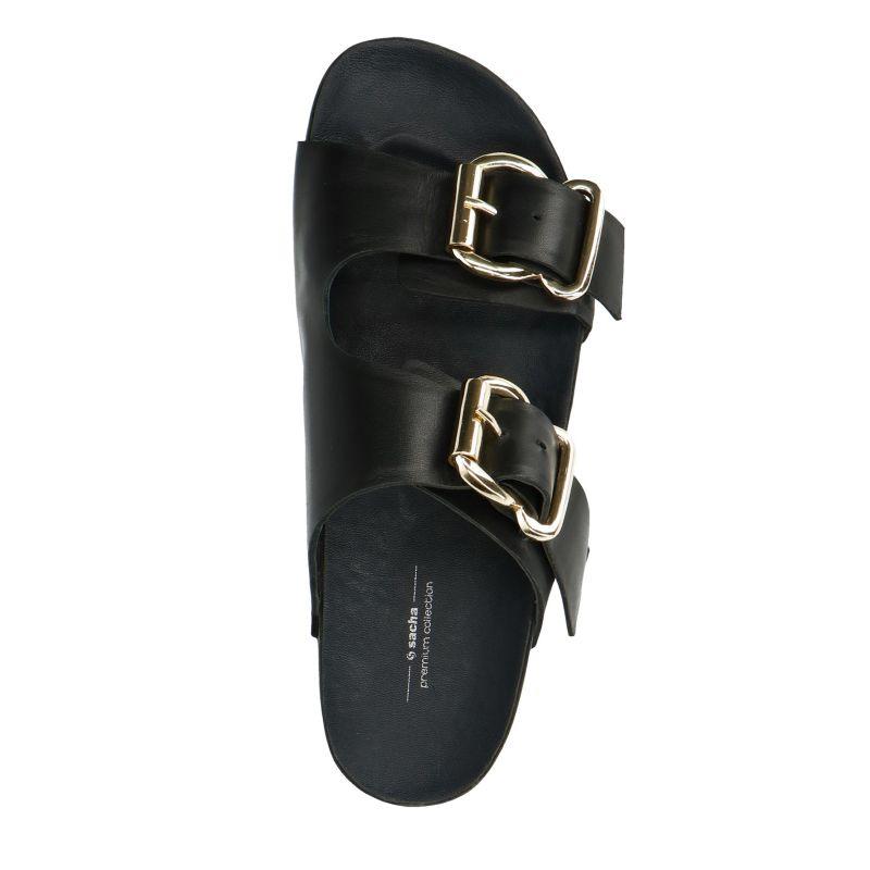 Zwarte slippers met gouden gespen