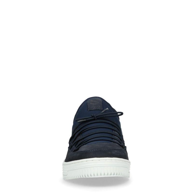 Donkerblauwe sneakers met witte zool