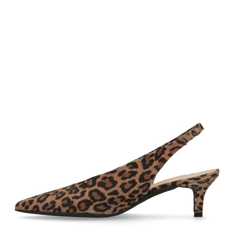 Luipaard print slingback pumps met kitten heel