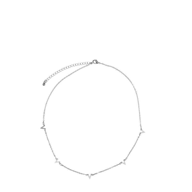 Zilverkleurige ketting v-shape