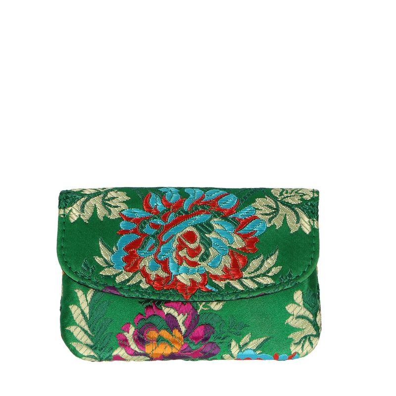 Porte-monnaie avec imprimé fleuri - vert