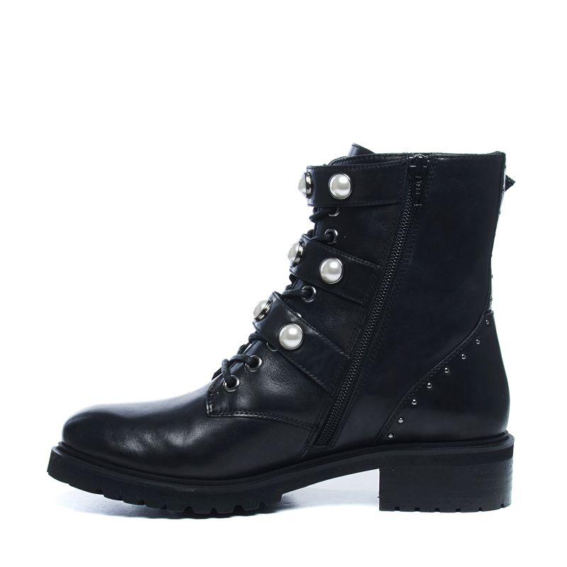 Zwarte biker boots met gespen en parels