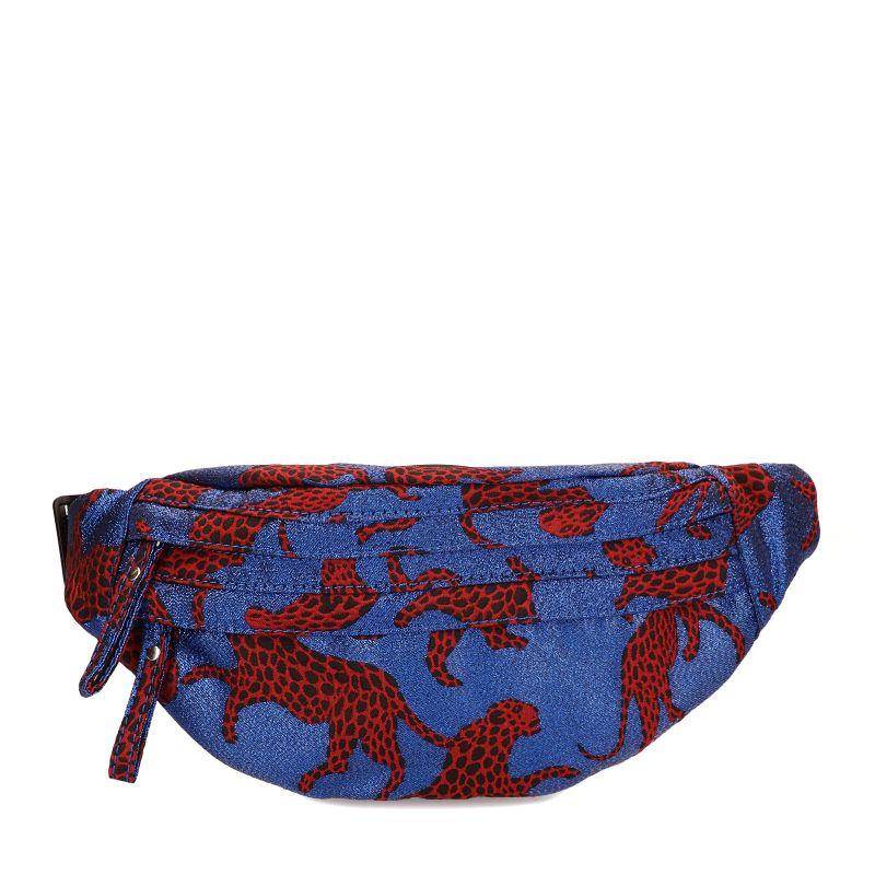 Blauw heuptasje met rode tijgers